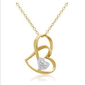 14K Diamond Floating Heart Necklace Valentine